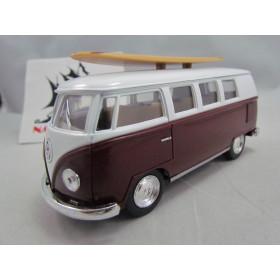 VW Kombi (Classical Bus) 1962 Vinho com Prancha Kinsmart 1:32