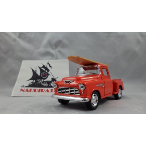 1955 Chevy Stepside Pickup com Surfboard Laranja Kinsmart 1:32