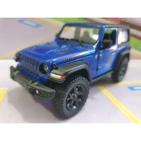 Jeep Wrangler Rubicon com capota Azul Kinsmart 1:34