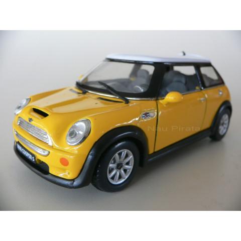 Mini Cooper S Amarelo Kinsmart 1:28