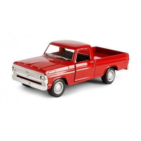 Miniatura Clássico Nacional Pickup Ford F-100 1968 Cor Vermelha