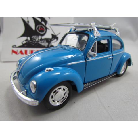 VW Fusca 1972 com Prancha Azul Welly