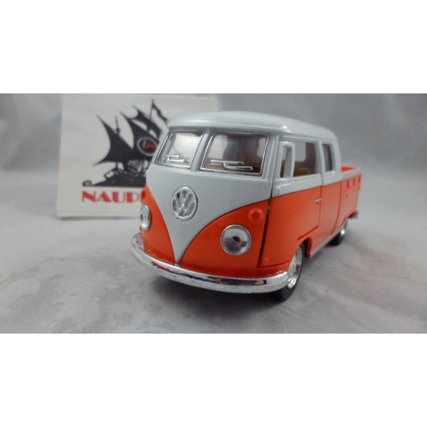 VW Kombi 1963 Pickup Cabine Dupla Laranja Kinsmart 1:32