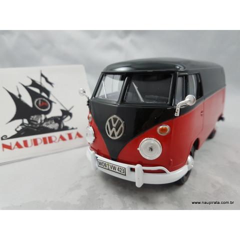 VW Kombi Type 2 (T1) Preta/Vermelho 1:24 MotorMax