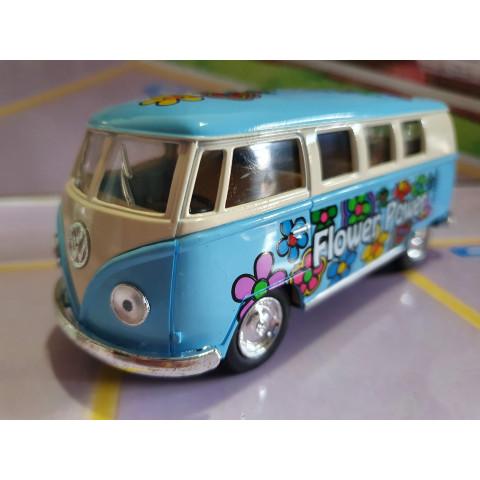 VW Kombi Classical Bus Floricultura Azul Kinsmart