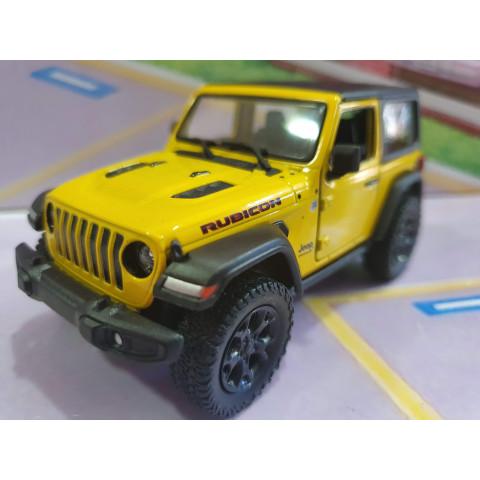 Jeep Wrangler Rubicon com capota Amarelo Kinsmart 1:34