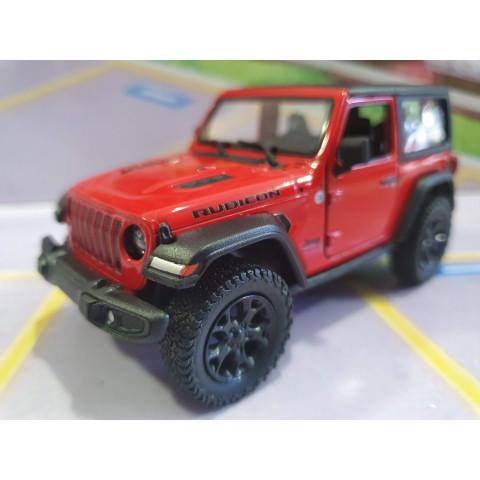 Jeep Wrangler Rubicon com capota Vermelho Kinsmart 1:34