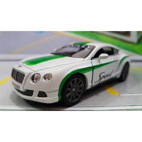 Bentley Continental GT Speed 2012 Branco com faixa Verde 1:38 Kinsmart