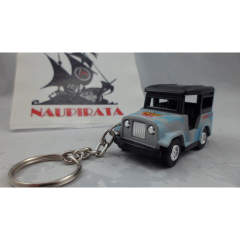 Chaveiro Jeep Militar Azul Mini Force Kinsmart