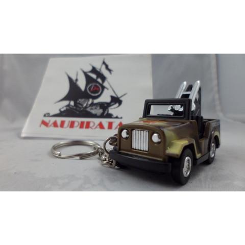 Chaveiro Jeep Militar Marrom MD02 Mini Force Kinsmart