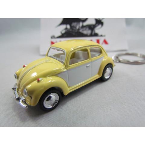 Chaveiro VW Fusca 1967 Amarelo e Branco Candy Color Kinsmart 1:64