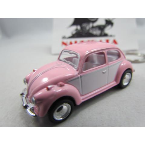 Chaveiro VW Fusca 1967 Rosa e Branco Candy Color Kinsmart 1:64