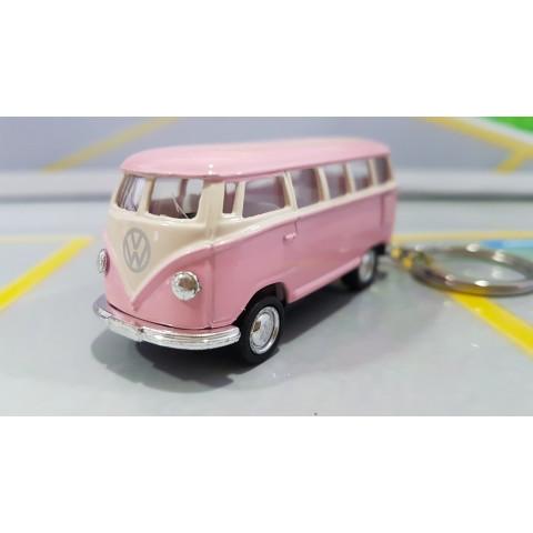 Chaveiro VW  Kombi Classical Bus 1962 Rosa Bebê 1:72 Kinsmart