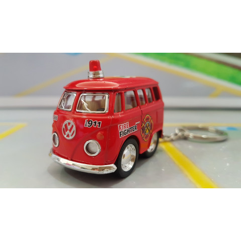 Chaveiro VW Mini Kombi Classical Bus Bombeiros 1:72 Kinsmart