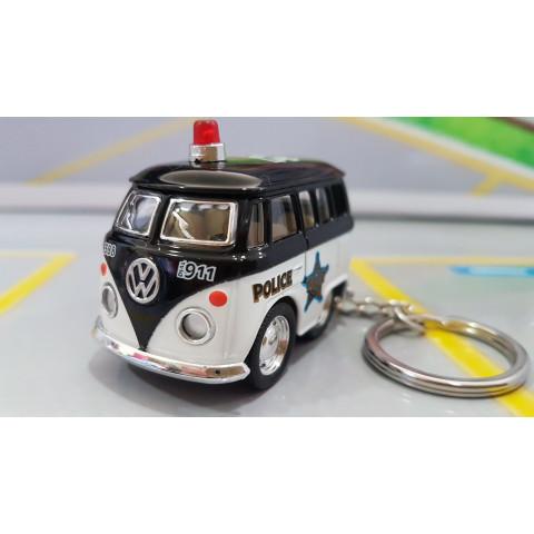 Chaveiro VW Mini Kombi Classical Bus Polícia 1:72 Kinsmart