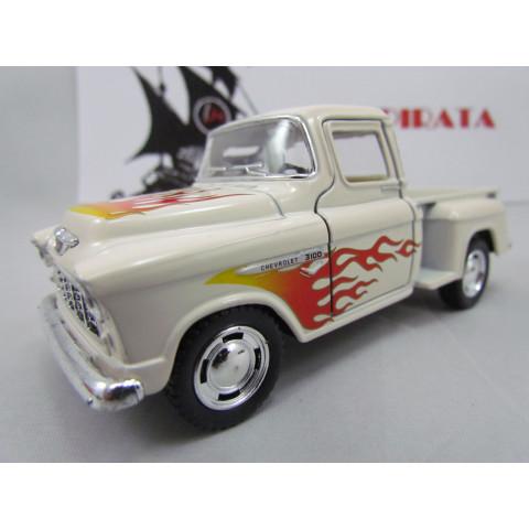 Chevy Stepside Pickup 1955 com Chamas Areia Marta Rocha Kinsmart  1:32