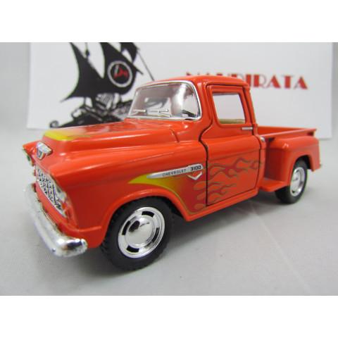 Chevy Stepside Pickup 1955 com Chamas Laranja Marta Rocha Kinsmart  1:32