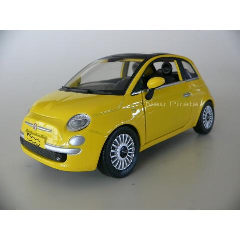 Fiat 500 Cinquecento 2007 Amarelo Licenciado New Ray 1:24