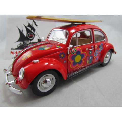 VW Old Beetle  Fusca Hippie com Prancha 1967 Vermelho Kinsmart 1:24