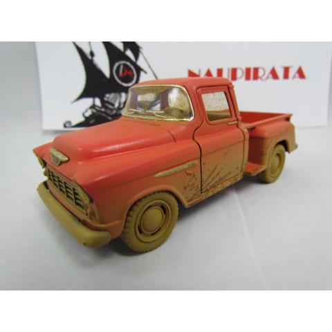 """Pickup Chevrolet Stepside Marta Rocha 1955 """"Enlameada"""" Vermelho Kinsmart 1:38"""