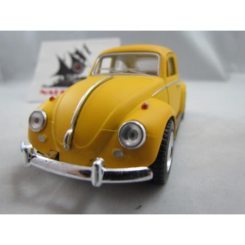 VW Fusca Old Beetle 1967 Amarelo Fosco Kinsmart 1:32