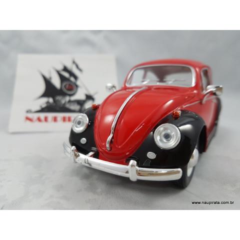 VW Fusca Old Beetle 1967 Vermelho/Preto 1:24 Kinsmart