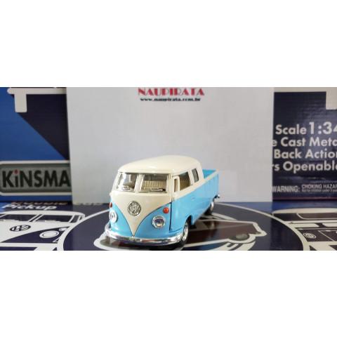 VW Kombi 1963 Pickup Cabine Dupla Candy Color Azul Kinsmart 1:34