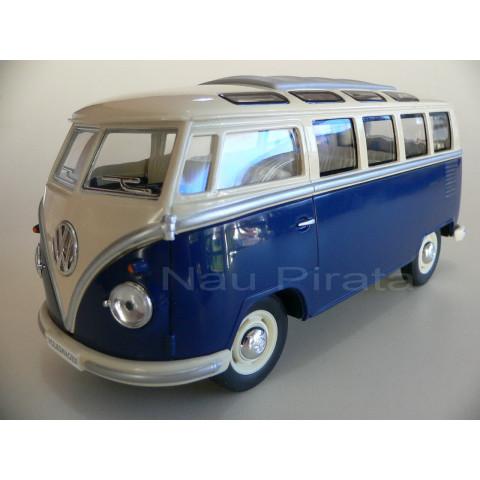 VW Kombi Azul Classical Bus Samba 1962 Kinsmart 1:24