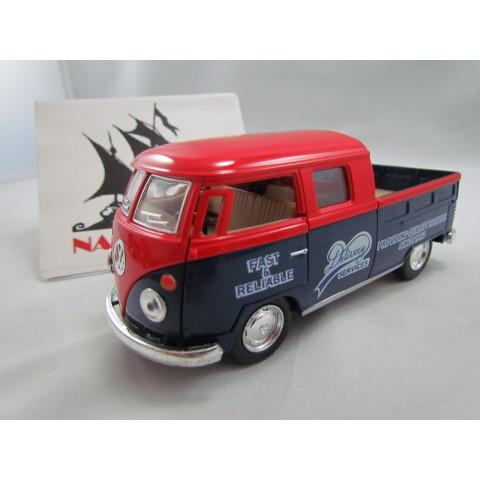 VW Kombi Bus 1963 Double Cap Pickup Delivery Vermelho e Azul Kinsmart 1:32