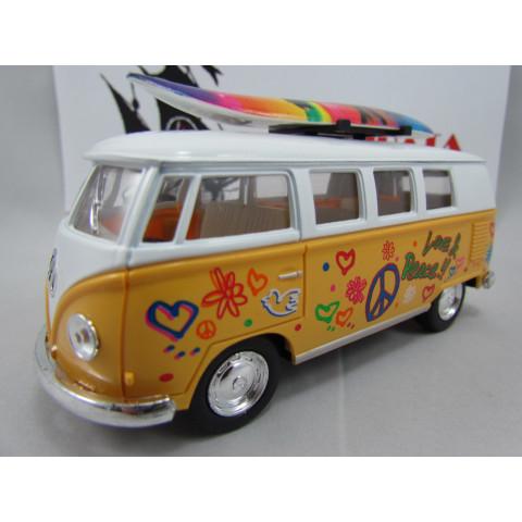 VW Kombi (Classical Bus) 1962 Hippie com Prancha Amarela Kinsmart 1:32