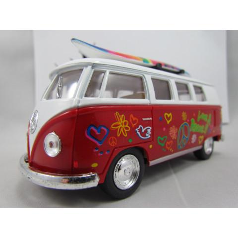 VW Kombi (Classical Bus) 1962 Hippie com Prancha Vermelho Kinsmart 1:32