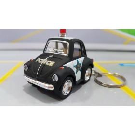 Chaveiro VW Mini Fusca Classical Beetle Polícia 1:72 Kinsmart