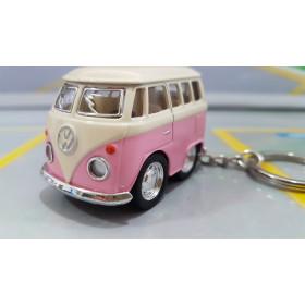 Chaveiro VW Mini Kombi Classical Bus Rosa Bebê 1:72 Kinsmart