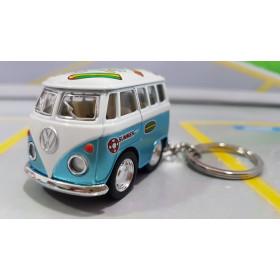Chaveiro VW Mini Kombi Hippie Classical Bus Azul 1:72 Kinsmart