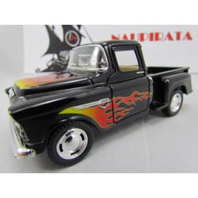 Chevy Stepside Pickup 1955 com Chamas Preta Marta Rocha Kinsmart  1:32