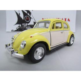 VW Fusca (Classical Beetle) 1967 2 Cores Amarelo/Areia Kinsmart 1:32