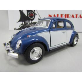 VW Fusca (Classical Beetle) 1967  2 Cores Azul Escuro/Branco Kinsmart 1:32
