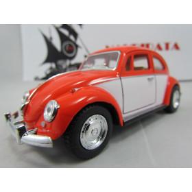VW Fusca (Classical Beetle) 1967  2 Cores Laranja/Branco Kinsmart 1:32