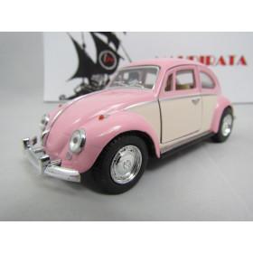 VW Fusca (Classical Beetle) 1967 2 Cores Rosa/Areia Kinsmart 1:32