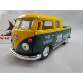 VW Kombi Bus 1963 Double Cap Pickup Delivery Amarelo e Verde Kinsmart 1:32