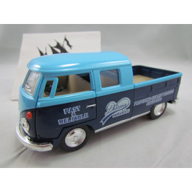 VW Kombi Bus 1963 Double Cap Pickup Delivery Azul Kinsmart 1:32