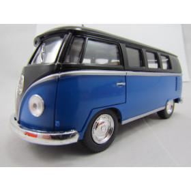 VW Kombi (Classical Bus) 1962 Azul com Teto Preto Kinsmart 1:32