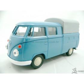 VW Kombi T1 Cabine Dupla Azul Fechada Welly