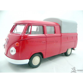VW Kombi T1 Cabine Dupla Vermelha Fechada Welly