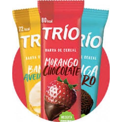 Caixa * 12* Un Trio Deli Barras Cereais Banana, Brigadeiro + Morango