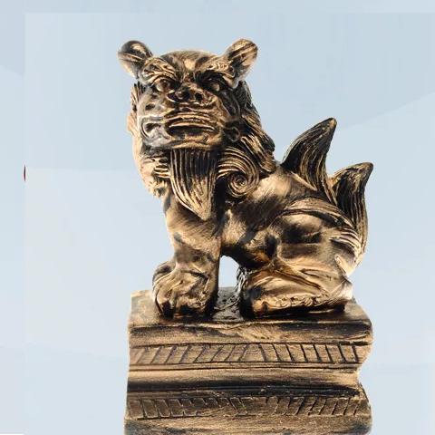 Imagem Leão Chinês lado direito preto 13 cm Gesso
