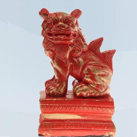 Imagem Leão Chinês lado direito vermelho 13 cm Gesso