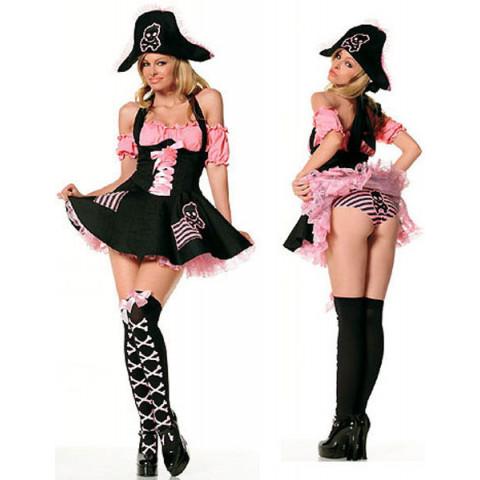 PROMOÇÃO - ***03 PEÇAS***Fantasia Vestido Feminina De Pirata Cosplay