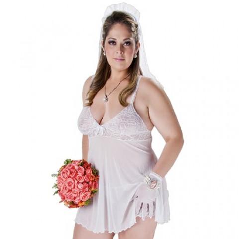 PROMOÇÃO - Promoção Kit Fantasia ***Plus Size Requinte Noivinha Veste Manequim 44 - 48