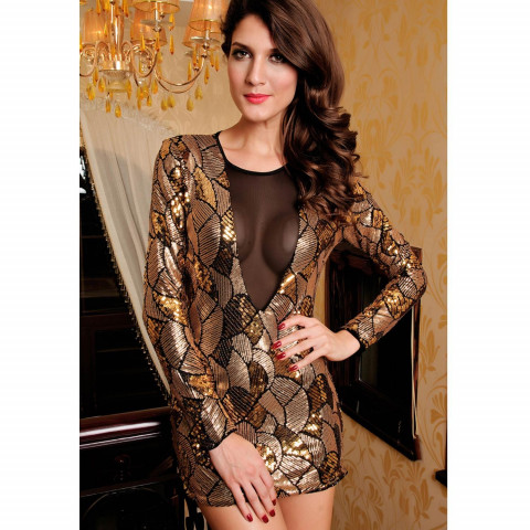 Vestido Golden Cirre Lantejoulas DECOTE FRONTAL IMPORTADO